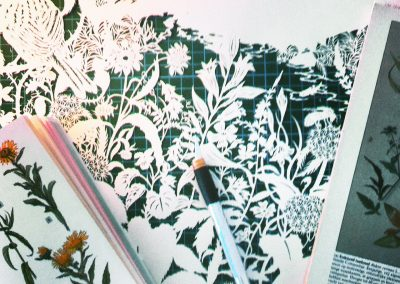Commissioned papercut - Publisher Plint - Detail Work in Progress With Inspiration