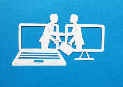 computer overeenkomst op blauw