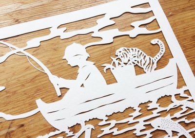 Custom Papercut Hilary - Aiden detail Tiger - Whispering Paper
