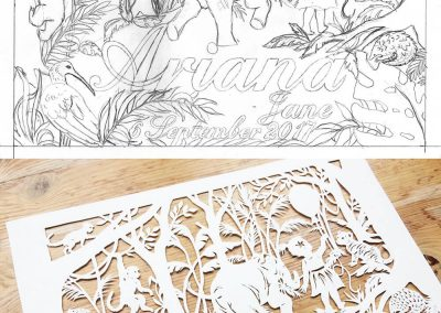Custom Papercut Hilary - Ariana Design Sketch with final Cut Out - Whispering Paper