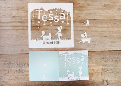 Custom Birth Announcement - Tessa - Original Papercut with Card - Whispering Paper
