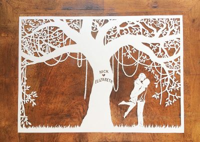Commission Papercut Elizabeth - Layer one on wood