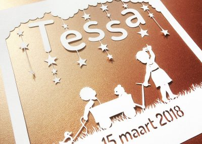 Custom Birth Announcement - Tessa - Total Gold left - Whispering Paper