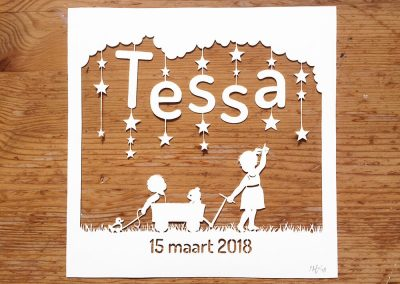 Custom Birth Announcement - Tessa - Total Wood - Whispering Paper