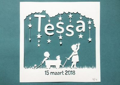 Custom Birth Announcement - Tessa - Total Green - Whispering Paper