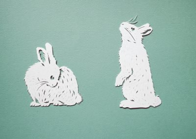 Papercut Illustrations for Libelle Magazine - Bunnies
