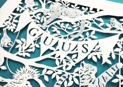 Custom Birth Announcement - Guus - detail middle on bluegreen