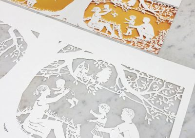 Papercut Birth Announcement - Aksel - Original with card on marble side-blurred details