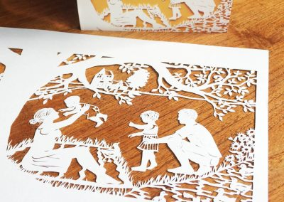 Papercut Birth Announcement - Aksel - Original with card table