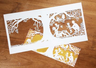 Papercut Birth Announcement - Aksel - Original with card underneath