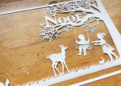 Papercut Birth Announcement Card - Noor - Detail Front