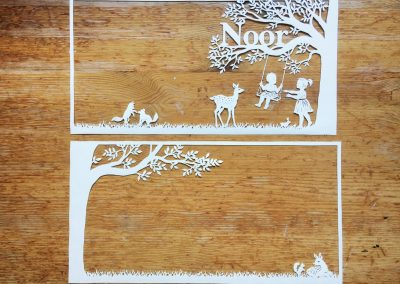 Papercut Birth Announcement Card - Noor - Two Papercuts