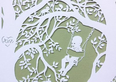 Papercut Gift for a Nanny - Detail boy monkey squirrel