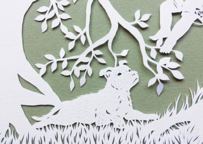 Papercut Gift for a Nanny - Detail dog