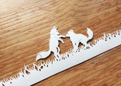 Papercut Birth Announcement Card - Noor - Baby Foxes