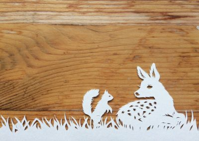 Papercut Birth Announcement Card - Noor - Detail Fawn & Squirrel