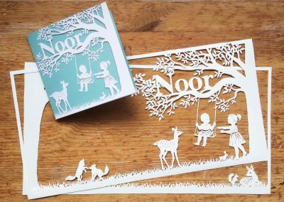 Papercut Birth Announcement Card - Noor - Card with Papercuts 1