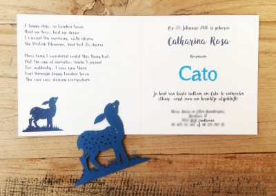 Custom Birth Announcement Cards - Fairytale Forest - Cato - Papercut fawn with interior card