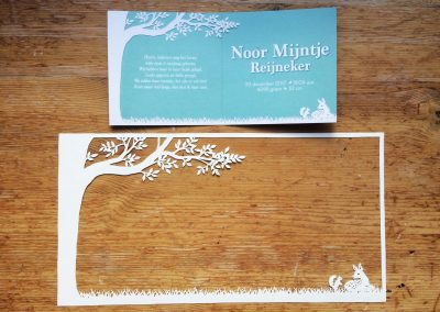 Papercut Birth Announcement Card - Noor - Card with Papercut -  Interior