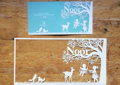 Papercut Birth Announcement Card - Noor - Card with Papercut -  Exterior