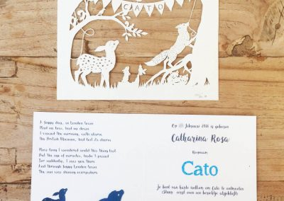 Custom Birth Announcement Cards - Fairytale Forest - Cato - Papercuts with interior card