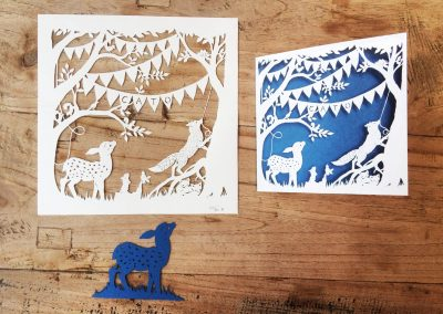 Custom Birth Announcement Cards - Fairytale Forest - Cato - Papercuts with card