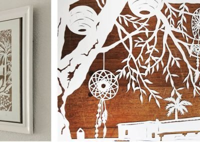 Wedding Anniversary Papercut - Ibiza - 2: Framed & Detail Dreamcatchers