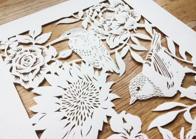 Bespoke Papercut - Flowers and Birds - Side top