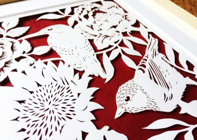 Bespoke Papercut - Flowers and Birds - Framed - Side top