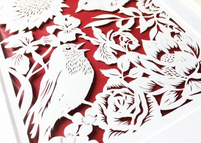 Bespoke Papercut - Flowers and Birds - Framed - Bottom