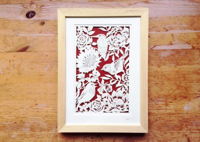 Bespoke Papercut - Flowers and Birds - Framed - Total