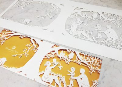 Papercut Birth Announcement - Aksel - Original with Card side on marble