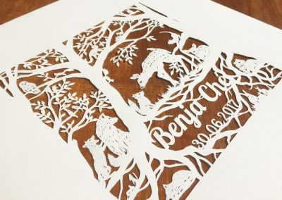 Custom Papercut Newborn Baby Boy - Total Left Side - Whispering Paper
