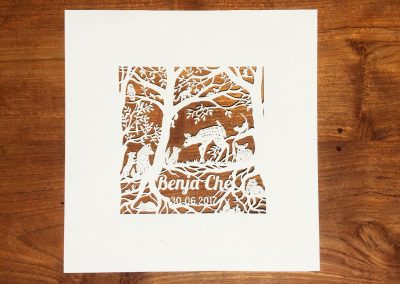Custom Papercut Newborn Baby Boy - Total on Wood - Whispering Paper