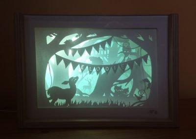 Bespoke Nightlight Dioramas - Elodie - Front view - Illuminated