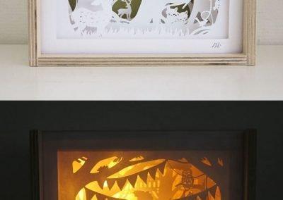 Bespoke Nightlight Dioramas - Mimosa - Front view - 2: Unlit & Illuminated - Whispering Paper