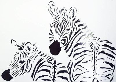 Custom Birth Announcement Cards - Stripes - Wall Sticker - Detail Zebras - Whispering Paper