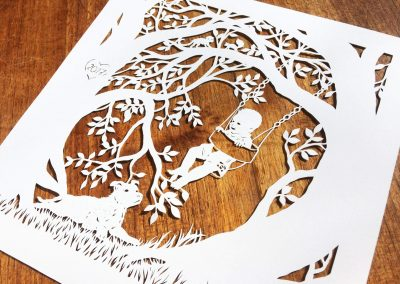 Papercut Gift for a Nanny - Side on wood