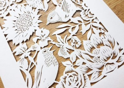 Bespoke Papercut - Flowers and Birds - Side Bottom