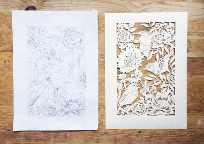 Bespoke Papercut - Flowers and Birds - Design and Papercut