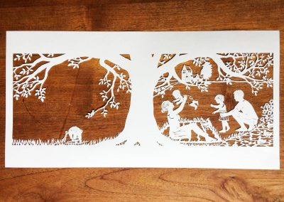 Papercut Birth Announcement - Aksel - Papercut total on wood
