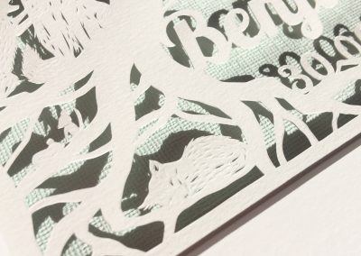 Custom Papercut Newborn Baby Boy - Detail Sleeping Baby Fox - Whispering Paper