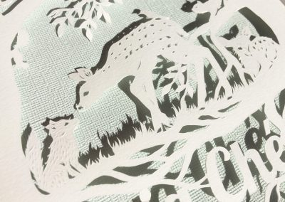 Custom Papercut Newborn Baby Boy - Detail Baby Fox & Fawn - Whispering Paper