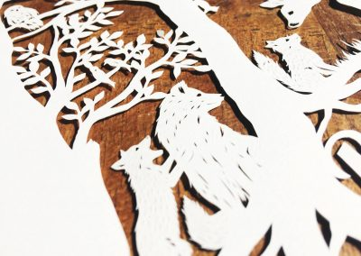 Custom Papercut Newborn Baby Boy - Detail Baby Fox Mommy Fox - Whispering Paper