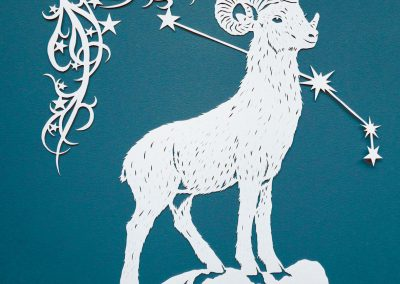 Papercut Illustrations for Libelle Magazine - Aries - square