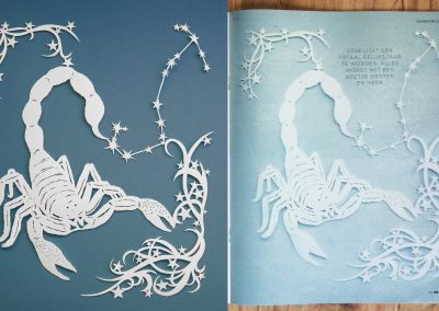 Papercut Illustrations for Libelle Magazine - 2: Original & Magazine - Scorpio