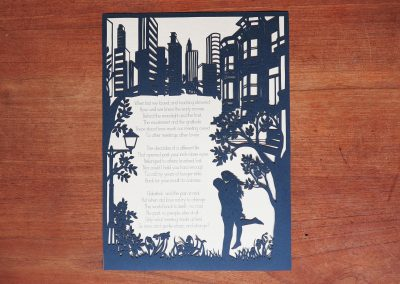 Papercut Birthday Gift - Cityscape poem - Total on wood 2 - Whispering Paper