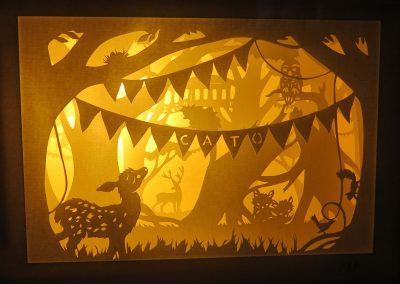 Bespoke Nightlight Dioramas - Cato - Front view - Illuminated - Whispering Paper