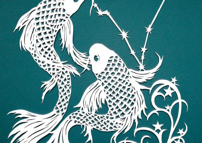 Papercut Illustrations for Libelle Magazine - Pisces - Blue Green