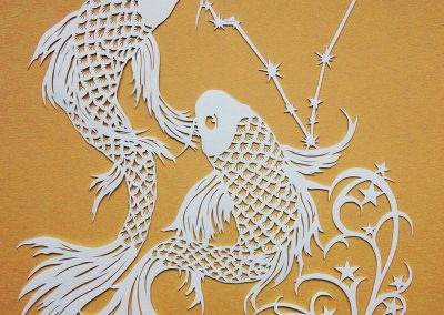 Papercut Illustrations for Libelle Magazine - Pisces - Gold
